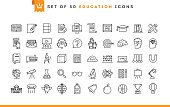 Set of 50 education icons, thin line style, vector illustration