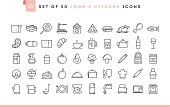 Set of 50 food and kitchen icons, thin line style, vector illustration