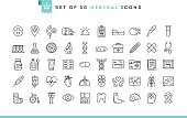 Set of 50 medical icons, thin line style, vector illustration