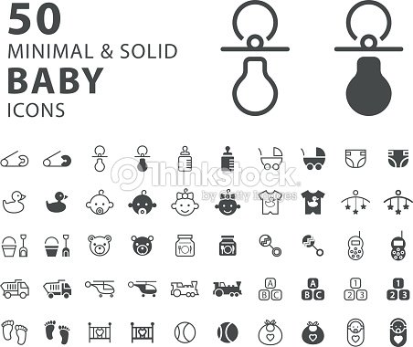 Set Of 50 Minimal And Solid Baby Icons On White Background