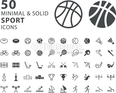 Set of 50 Minimal and Solid Sport Icons on White Background : stock vector