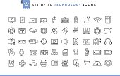 Set of 50 technology icons, thin line style, vector illustration