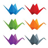 Set of paper cranes origami from multicolored paper