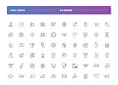 Set of 60 line icons. Business collection. Vector illustration for realisation ideas, start up, making money and teamwork