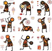 Collection of nine patterns with African ethnic ornaments with animal and dancing musicians of yellow, orange, black and red color. EPS8