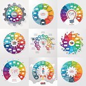 Set of 9 circle infographic templates with 11 options, steps, parts, processes. Business concept for graphs, charts, diagrams. Vector illustration.