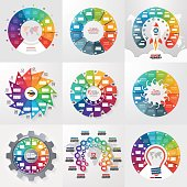Set of 9 circle infographic templates with 12 options, steps, parts, processes. Business concept for graphs, charts, diagrams. Vector illustration.
