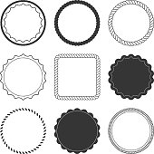Set of 9 design summer elements, frames, borders isolated on white background
