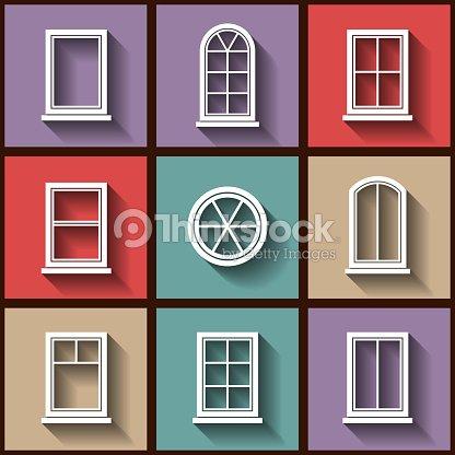 ensemble de 9 ic nes plat de diff rents types de fen tres clipart vectoriel thinkstock. Black Bedroom Furniture Sets. Home Design Ideas