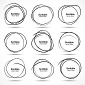 Set of 9 Hand Drawn Scribble Circles, vector design elements