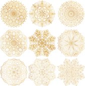 Set of 9 hand-drawn vector Arabic mandala on white background. Ethnic decorative ornament. Gold contour mandala symbols for coloring page. Round abstract oriental ornament for cards, textile prints.