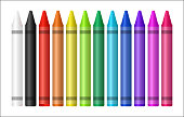 set of a color crayon on white background