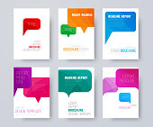 set of A4 covers with multi-colored bubbles talking. Template of a white flyer in a minimalist style. Vector illustration