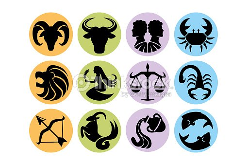 8c45be585 Set Of Abstract Astrological Signs Isolated stock vector - Thinkstock