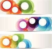Three abstract colorful banners for web or print. This file is saved in EPS10 format and uses transparency effects.