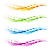 Set of abstract color wave. Color smoke wave. Transparent color wave. Blue, pink, orange, green color. Wavy design