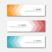 Set of abstract design banner template. Three different colors. Vector illustration.