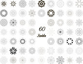 Set of abstract design element. Round mandalas in vector. Graphic template for your design. Decorative retro ornament. Hand drawn background with flowers