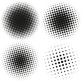 Set of Abstract Halftone Design Elements. Vector illustration