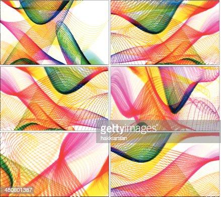 Set of abstract line art backgrounds : Vector Art
