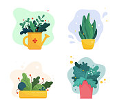 Set of abstract lush plants in flowerpots and watering can. Assorted leaves, flowers and berries. Domestic gardening illustration in modern simple flat art style. Vector illustration isolated on white