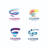 "Set of abstract spiral logo. Tornado geometric symbol. ""E"" letter energy logotype. Magic whirlwind logo template."
