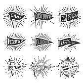 Set of adventure, outdoors, camping pennants. Retro monochrome labels with light rays. Hand drawn wanderlust style. Pennant travel flags design. Vector illustration.