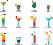 Set of alcoholic cocktails fruit cold drinks tropical cosmopolitan freshness collection and party alcohol sweet tequila vector illustration. Juice with refreshment rum restaurant beverage.