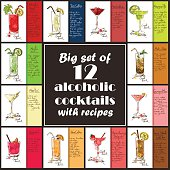 Set of 12 hand drawn alcoholic cocktails. Including recipes and ingredients for restaurant or cafe. Part 1.