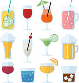 Set of alcoholic drinks, wine, beer and cocktails, isolated vector icons, flat design.