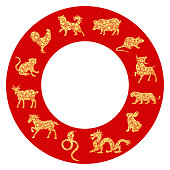 Set of all 12 lunar zodiac animals for Chinese New Year celebration design. Vector illustration in paper cut style.