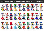 Set of all national football or soccer team jersey of world . Nation flag mix with clothes style . Vector elements for sports international championship concept . Flat design . Part 1 of 4 .