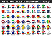 Set of all national football or soccer team jersey of world . Nation flag mix with clothes style . Vector elements for sports international championship concept . Flat design . Part 2 of 4 .