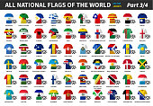 Set of all national football or soccer team jersey of world . Nation flag mix with clothes style . Vector elements for sports international championship concept . Flat design . Part 3 of 4 .