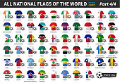 Set of all national football or soccer team jersey of world . Nation flag mix with clothes style . Vector elements for sports international championship concept . Flat design . Part 4 of 4 ( complete