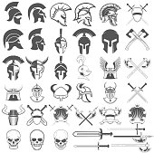 Set of ancient weapon, helmets, swords and design elements. Design elements for  label, emblem, sign, badge .Vector illustration.
