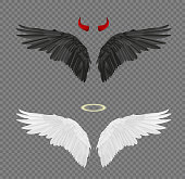 Set of angel and devil realistic wings, horns and halo isolated on transparent background.