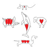 Rat, Dolphin, pig, dog and sheep on a single sheet