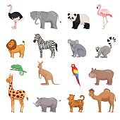 Zoo animals set in flat style isolated on white background. Vector illustration.