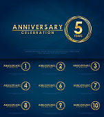 set of anniversary celebration emblem, 1st-10th anniversary golden logo with ring. template design for web, game ,creative poster, booklet, leaflet, flyer, magazine, greeting and invitation card