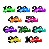 Set of anniversary emblems from 10 to 100. Numbers with ribons on white background. Stock vector signs design elements.