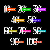 Set of anniversary emblems from 10 to 100. Numbers on black background. Stock vector signs design elements.