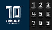 Set of anniversary logotype. Modern anniversary celebration icons. Design for company profile, booklet, leaflet, magazine, brochure, invitation or greeting card. Vector illustration.