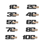 Set of anniversary signs from 10 to 100. Numbers in two colors. Stock vector signs design elements.