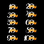 Set of anniversary signs from 10th to 100th. White numbers on a black background. Stock vector signs design elements.