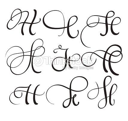 Set of art calligraphy letter h with flourish of vintage decorative set of art calligraphy letter h with flourish of vintage decorative whorls vector illustration eps10 altavistaventures Choice Image