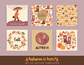Set of artistic creative autumn cards. Hand Drawn textures and brush lettering. Design for poster, card, invitation, placard, brochure, flyer. Vector templates.