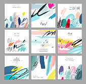 Set of artistic creative universal cards. Hand Drawn textures. Wedding, anniversary, birthday, Valentin's day, party. Design for poster, card, invitation, placard, brochure, flyer.  Vector. Isolated.