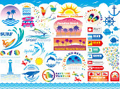 A set of various beach resort and summer vacation-related signs and info-graphics, vector illustrations.