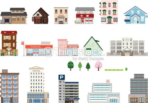 Set of assorted building icons vector art thinkstock for Architecture japonaise